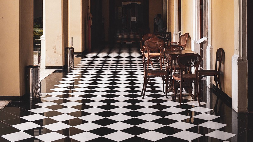 Black and white tiled floor in an old building